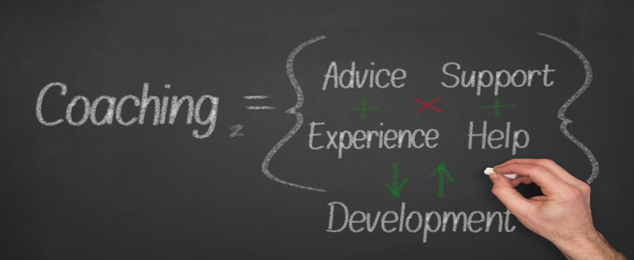 Image shows how coaching consists of advice, experience, support, and help, and it leads to professional development
